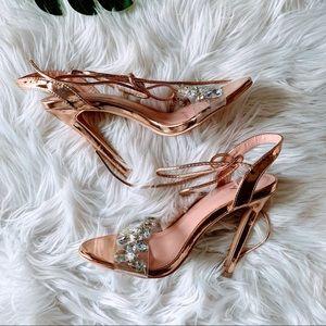 Shoes - Rose Gold Heels Sandals Rhinestone Jules Size 6